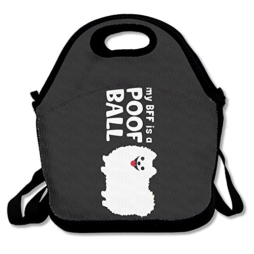 bf5de406 My BFF Is A POOF BALL Lunch Bag Cute Grocery Bags Black For YOU