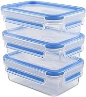 Emsa 508570 Lot de 3 boîtes alimentaires, 0.55 Litre, Transparent/bleu, Clip & Close