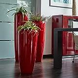 Moderne & Hochwertige Pflanzvase/Pflanzkübel – Klein: 75cm - Hochglanz Rot - Fiberglas - Mit Einsatz – Indoor & Outdoor – Wetterbeständig & Frostsicher