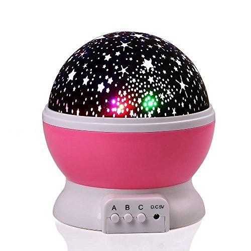 Preisvergleich Produktbild Qedertek LED Star Projektor 360 Grad Drehbares Sternenhimmel Nachtlicht USB und Batterie Betrieben Kornen Perfekt für Geburtstag,  Parteien,  Kinder Zimmer,  Weihnachten,  Hochzeit - Rosa