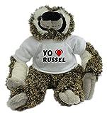 Bradypus de peluche con Amo Russel en la camiseta (nombre de pila/apellido/apodo)