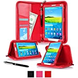 rooCASE Samsung Galaxy Tab S 8.4 Case - Executive Portfolio Leather 8.4-Inch 8.4' Cover with Landscape, Portrait, Typing Stand, Hand Strap - Red (With Auto Wake / Sleep Smart Cover)