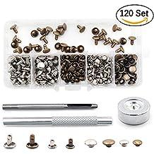Remaches de doble tapa Buwant, con equipo de herramientas de fijación, juego de 120 piezas para reparaciones de artesanía de piel, 2 tamaños (6 y 8 mm), 2 colores (plata y bronce)