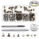 Buwant 120-teiliges Nietset (mit je 2 Kappen)mit Befestigungswerkzeug, für Lederarbeiten, Reparaturen, Dekoration, 2 Größen: 8 mm und 6 mm, 2 Farben: Silberfarben und Bronzefarben