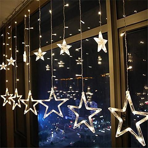 GUANSIJIE® Fernbedienung Lichterkette Star Weihnachtsbeleuchtung mit USB-LED-Leuchten Vorhang Lichter für Weihnachtsschmuck Hochzeit Mädchen Schlafzimmer Garten Hof Baum Fenster Indoor und Outdoor