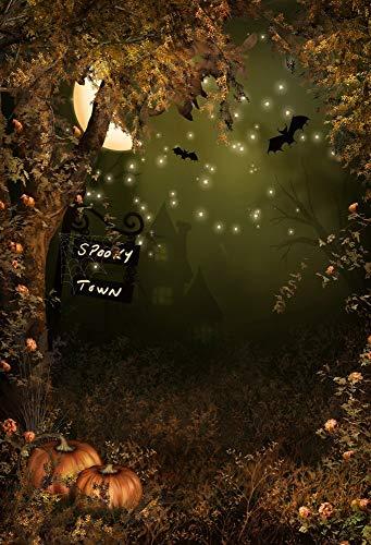 FT Fotografie Hintergrund Scary Forest Dunkle Nacht Bäume Kürbisse Mond Szene Halloween Kinder Erwachsene Hintergrund 1,5(B) x2,2(H) Hintergrund Video Foto Studio Requisiten ()