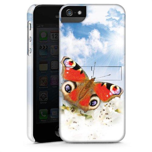 Apple iPhone 5 Housse étui coque protection Papillon Fleurs Fleurs CasStandup blanc