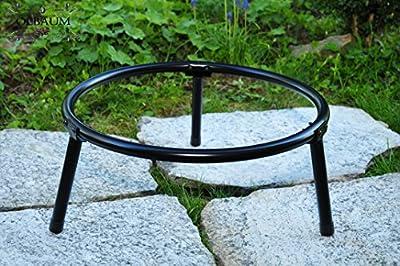 Massive Stahl-FEUERSCHALE aus robustem Gußeisen, MASSIV, bei geringem Gewicht da GEHÄRTET, mit 4 Grillspieße