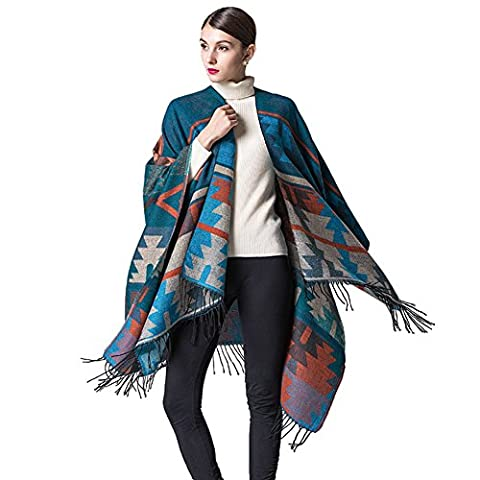 Esenfa Geometric Pattern Pashmina Thick Wrap Shawl Infinity Scarf Cape For Women (B)