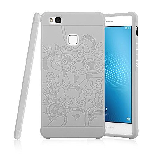 Teléfono de la Personalidad para Huawei G9 Lite Genuino Calidad TPU Ultra Delgado Funda Protectora de Silicona Cubierta a Prueba de Golpes (Color : Gris, Pattern : Dragon Pattern)
