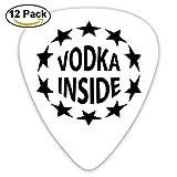 Celluloid Guitar Picks Best Gift For Guitar Lover Bass Guitar Plectrums,print Vodka Inside,0.46mm/0.73mm/0.96mm,12 Pack