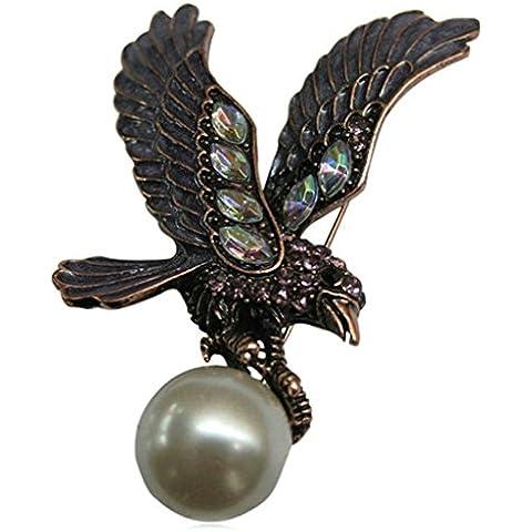 AnaZoz Joyería de Moda Broche Unisex Acero Inoxidable Águila Broches y Pins Para Mujer Broche de Boda Color Negro