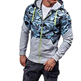 LoveLeiter Herren Tarnung Kapuzenpullover Hoodie Langarm Oberbekleidung Männer Retro Jacke Outwear, Sweatshirt Outwear Pullover Manner Winter Warmes Solide Graben Mantel Strickjacke