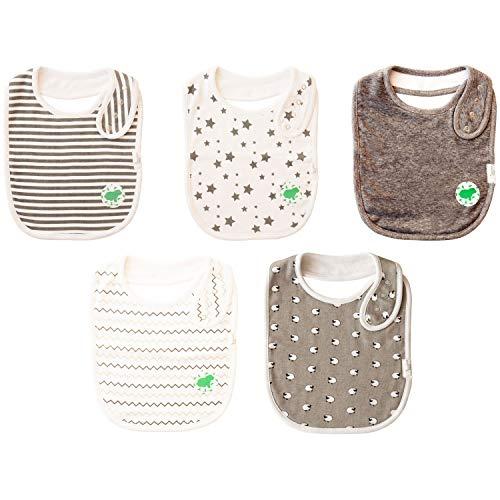 Budding Bear Baby Lätzchen aus 100% Bio organischer Baumwolle - Premium 5er Pack - Lätzchen mit absorbierender Frottee Rückseite - Mädchen und Jungen Baby Latz (graue und weiße Muster)