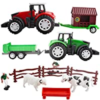 deAO Farmyard Fun 2in1 Friction Powered Farm Tractor Trailer Trucks Playset with Animal Figures, Farmer and Accessories Gift Pack for Baby Toddlers Children Kids