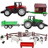 deAO Gioco di Fattoria con Veicoli ad Attrito Set 2in1 Include Trattori, Figura del Contadino, Animali e Accessori del Ranch Agricoli