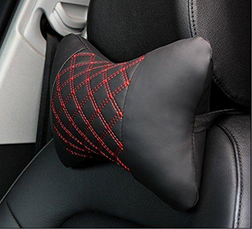 CHENHUAschwarz und Rot Lederfaser Auto Kopfstütze Automobil liefert Vier Jahreszeiten Nackenschützer Ein Paar Nackenstütze Komfortable Mode Einfachen Sommer