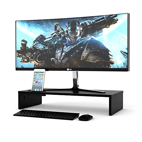 1home Wood Monitor Stand Tv Pc Laptop Computer Screen Riser Desk Storage Black, W 540 X D 255 X H 104mm