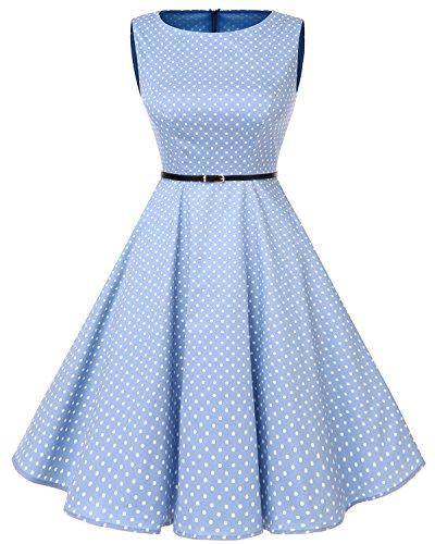 bbonlinedress 50s Retro Schwingen Vintage Rockabilly Kleid Faltenrock Blue Small White Dot 2XL