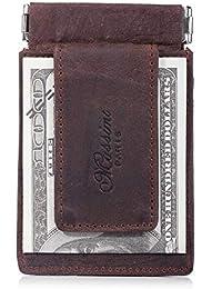 Win&Income Echt Leder Geldklammer mit Kartenhalter und Müzenfach,Braun