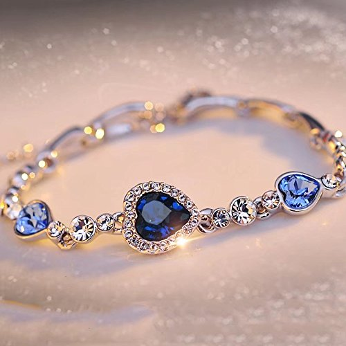 RICISUNG Charming Damen-Armreif mit österreichischen Kristallen, Titanik-inspiriert, Herz des Ozeans, dunkelblau