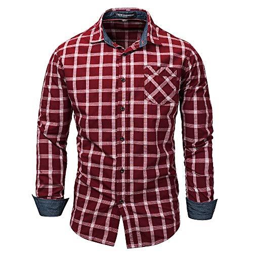 Mens Fashion Gitter Stripe Cuffed Sleeve Shirts (Farbe : Rot, Größe : XXXL) -