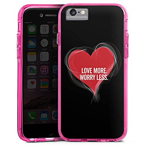 Apple iPhone 6s Bumper Hülle Bumper Case Glitzer Hülle Liebe Amour Love Bumper Case transparent pink