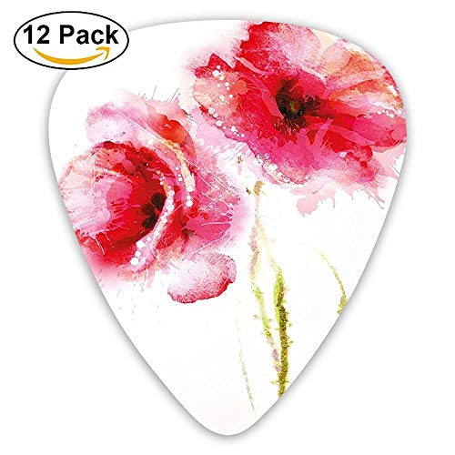 Little Red Spring Summer Time Garden Florals Field Poppy Artwork Guitar Picks 12/Pack Set -