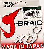 Daiwa J-Braid 8 Braid 0.10mm, 6.0kg / 13.0lbs, 300m vert foncé, ligne de pêche tressée ronde