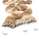 hair2heart 25 x Microring Loop Extensions aus Echthaar, 40cm, 1g Strähnen, gewellt - 12 honigblond