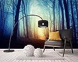 BHXINGMU Kundenspezifische Wandbilder Waldbäume Morgennebel Große Wohnzimmer Fernsehsofahintergrunddekoration 150Cm(H)×200Cm(W)