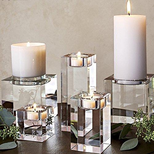 Portavelas de cristal K9 para mesa, elegante titular de vidrio ...