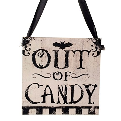 ängung Schild aus Schild Cany Halloween Holzschild Tür Aufhänger Decor Halloween Home Dekorationen ()