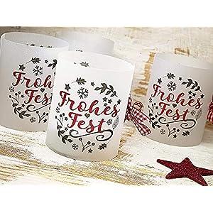 Lichthülle für Tischlicht Weihnachten Advent rot grau Set 6 x handmade