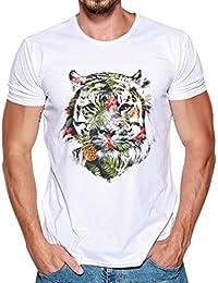 Koly Camiseta Hombre, Casual Impresión Camiseta Para Hombre Tee Cuello Redondo Tops Camisetas Ropa Hombre Barata Deportiva Camisas Manga corta T Shirt Blouse (Blanco, XL)