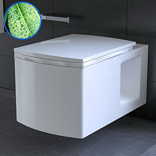 Wand Hänge WC / Farbe Weiss / Toilette mit WC-Sitz / WC-Sitz mit Soft-Close Funktion / Keramik WC / Lotuseffekt