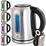 KESSER 2200W Edelstahl Wasserkocher 1,7L mit LED Beleuchtung-Farbe je nach Temperaturwahl 60, 70, 80, 90, 100 °C | Kalk-Filter | 2 Std Warmhaltefunktion