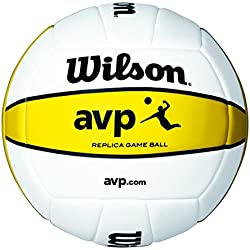 Wilson AVP - Mini pelota, color blanco / amarillo, talla única