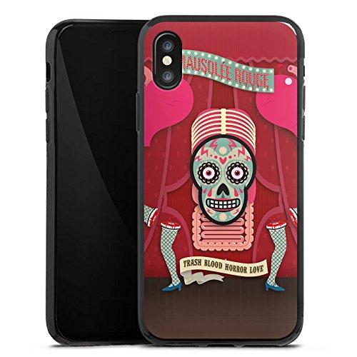 Apple iPhone X Silikon Hülle Case Schutzhülle Totenkopf Knochen Pinup Silikon Case schwarz