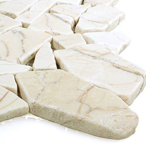 Polierte Bruch Marmor Mosaik Fliesen Golden Cream | Wandfliesen | Mosaik-Fliesen | Bruch-Mosaik | Naturstein | Ideal für die Küche und Badezimmer -