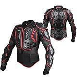 GES Moto Protezione armatura da motocicletta Indumenti di Protezione Corpo Armatura Completa Moto Professionale Sportivo per gli uomini abbigliamento protettivo da corsa (2XL, Rosso)