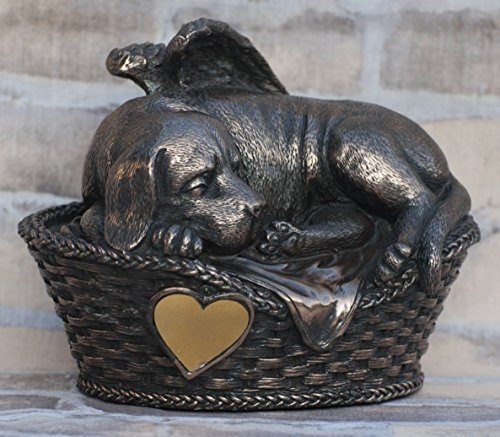 Hunde Urne bronziert als Hunde-Engelfigur und Gravurplatte, Tierurne -