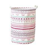 YOUJIA Stoff Wäschebehälter für Schmutzwäsche Klappbare Wäschekorb Wäschesammler Wäschebox Rund Wäschetonne Kleidung Spielzeug Aufbewahrung Korb (Leinen Gedruckt, 35*45 cm)