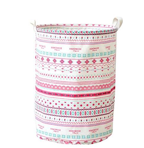 YOUJIA Grande Pliable Panier à Linge Boite Rangement en Tissu Organisateur pour Vetement sale Sac pour Stockage de Jouets (Linen Imprimé, 35*45 cm)