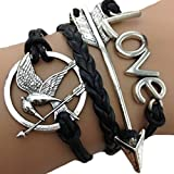 Acquista Bracciale braccialetto Infinito infinity Hunger games Karma moda tendenza fashion Freccia Nero