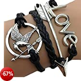 Bracciale braccialetto Infinito infinity Hunger games Karma moda tendenza fashion Freccia Nero