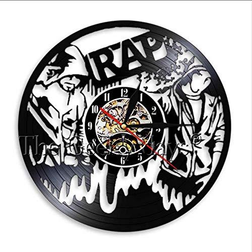 TIANZly Musik Rap Moderne Schallplatte Wanduhr Uhr Rap Party Musik Haltung Sänger Raum Wandkunst Dekoration Uhr Uhr Idol Einzigartiges Geschenk Raumdekoration