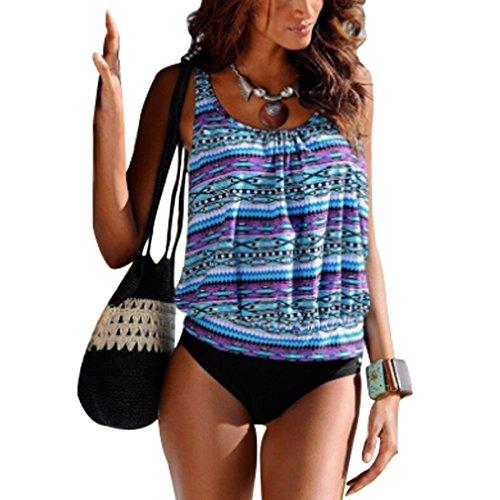 Inlefen costume bikini da bagno donna a due pezzi con taglie forti stampato costume intero