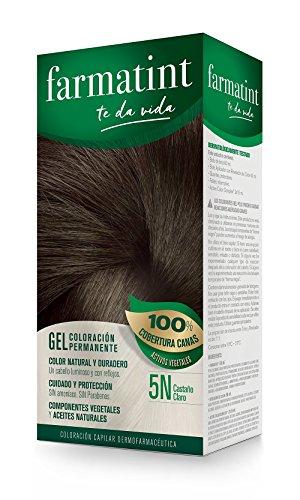 Farmatint Gel 5N Castaño Claro. Tinte permanente. Cabello natural y color duradero. Sin amoníaco ni parabenes ni parafinas ni siliconas. Coloración natural para el pelo fácil de aplicar.