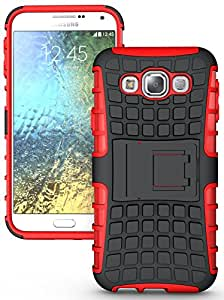 Heartly Flip Kick Stand Spider Hard Dual Rugged Armor Hybrid Bumper Back Case Cover For Samsung Galaxy E5 SM-E500F Dual Sim - Hot Red